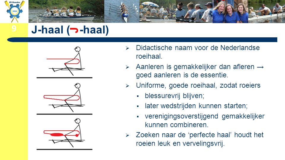 9 J-haal ( -haal)  Didactische naam voor de Nederlandse roeihaal.  Aanleren is gemakkelijker dan afleren → goed aanleren is de essentie.  Uniforme,