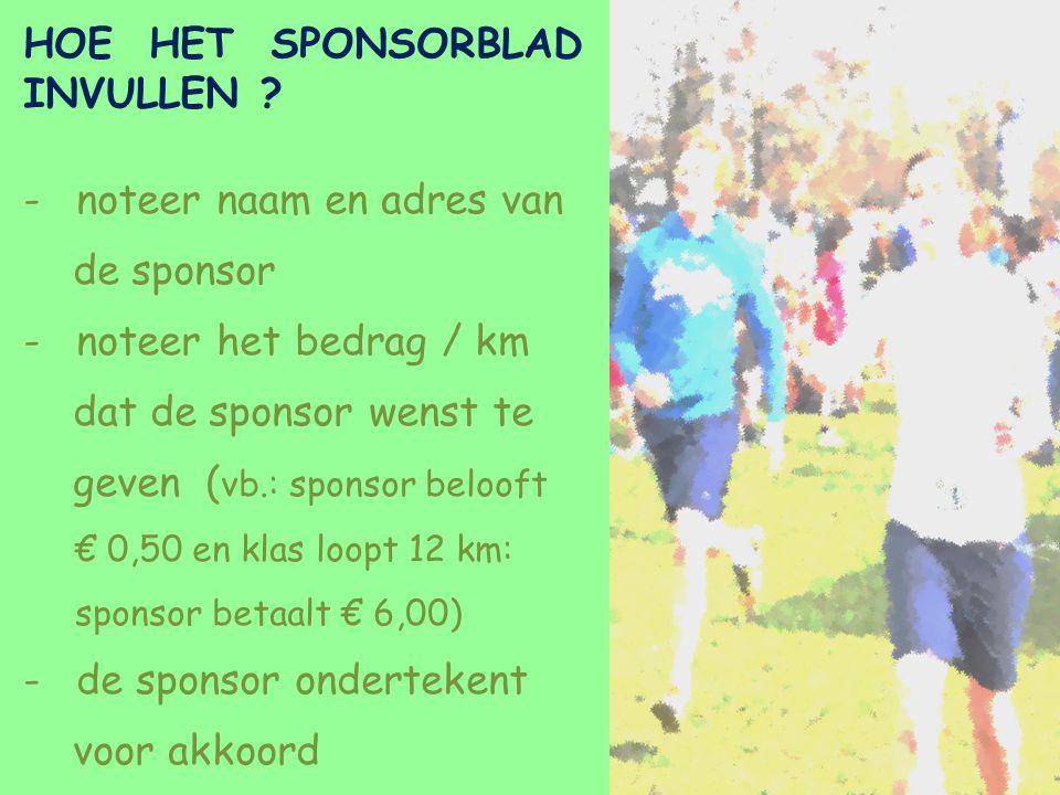 HOE HET SPONSORBLAD INVULLEN ? -noteer naam en adres van de sponsor -noteer het bedrag / km dat de sponsor wenst te geven ( vb.: sponsor belooft € 0,5