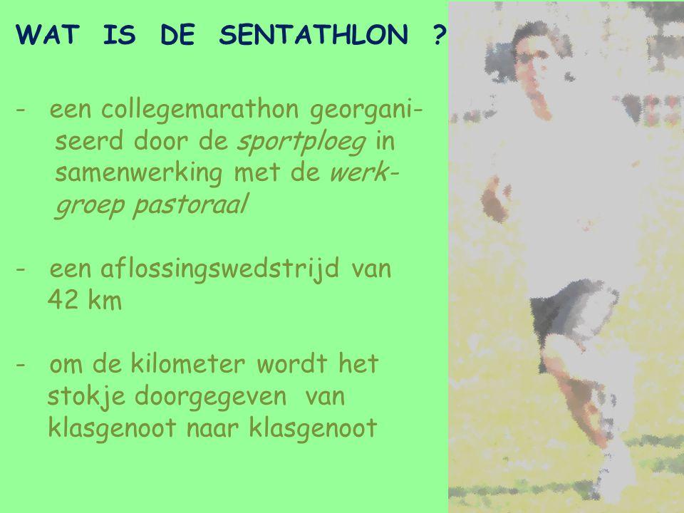 WAT IS DE SENTATHLON ? -een collegemarathon georgani- seerd door de sportploeg in samenwerking met de werk- groep pastoraal -een aflossingswedstrijd v