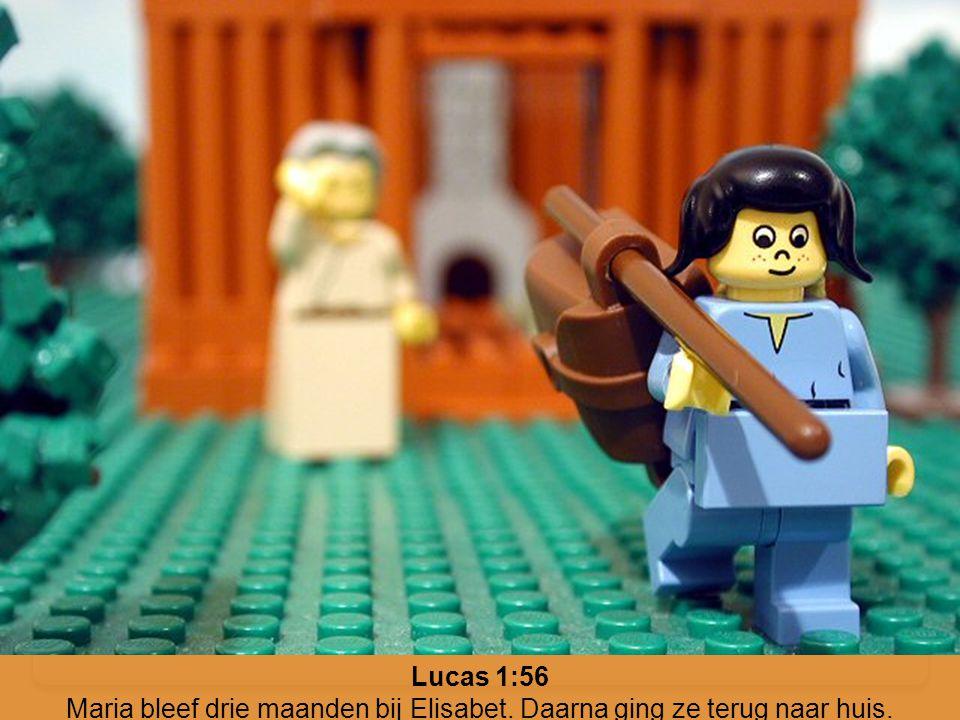 Lucas 1:56 Maria bleef drie maanden bij Elisabet. Daarna ging ze terug naar huis.