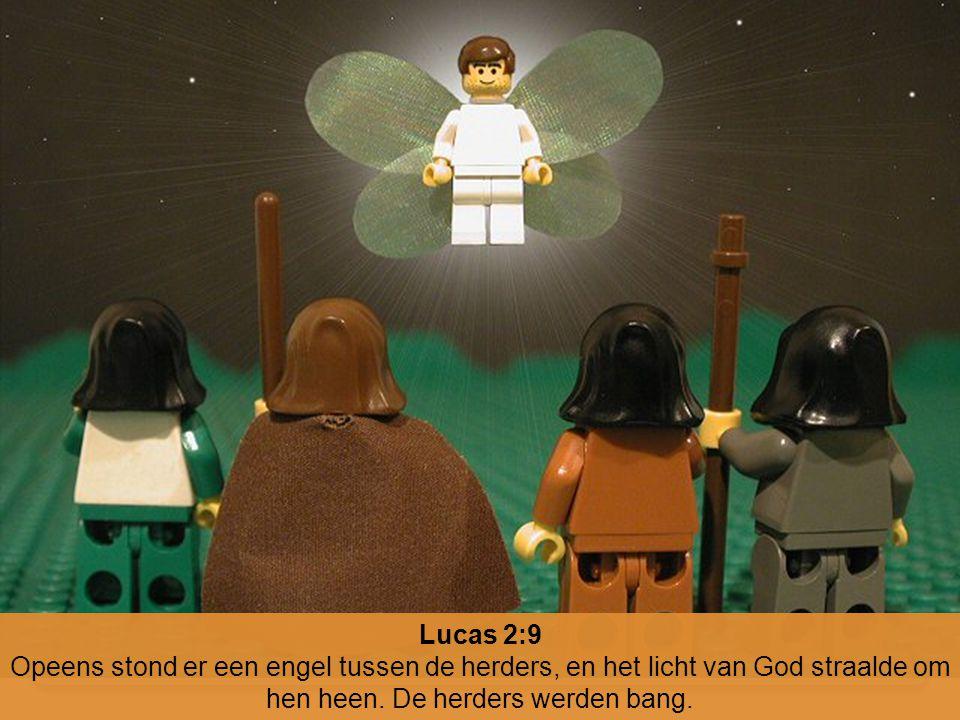 Lucas 2:9 Opeens stond er een engel tussen de herders, en het licht van God straalde om hen heen. De herders werden bang.