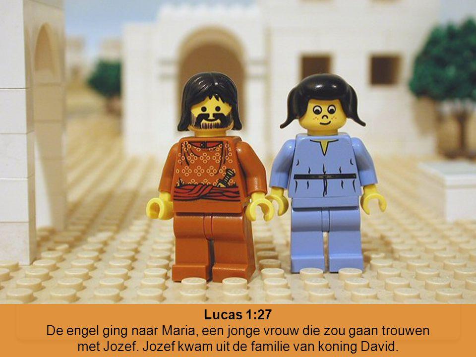 Lucas 1:27 De engel ging naar Maria, een jonge vrouw die zou gaan trouwen met Jozef. Jozef kwam uit de familie van koning David.