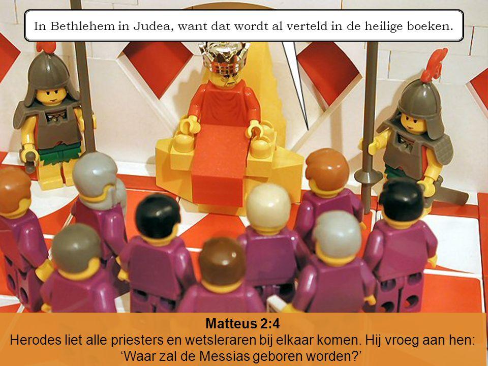 Matteus 2:4 Herodes liet alle priesters en wetsleraren bij elkaar komen. Hij vroeg aan hen: 'Waar zal de Messias geboren worden?' In Bethlehem in Jude