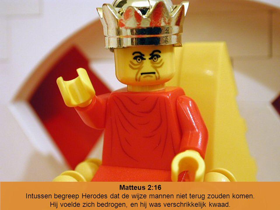 Matteus 2:16 Intussen begreep Herodes dat de wijze mannen niet terug zouden komen. Hij voelde zich bedrogen, en hij was verschrikkelijk kwaad.