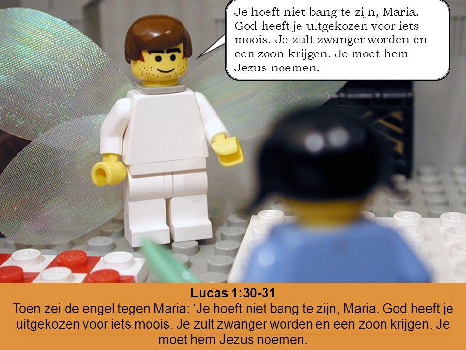 Lucas 1:30-31 Toen zei de engel tegen Maria: 'Je hoeft niet bang te zijn, Maria. God heeft je uitgekozen voor iets moois. Je zult zwanger worden en ee