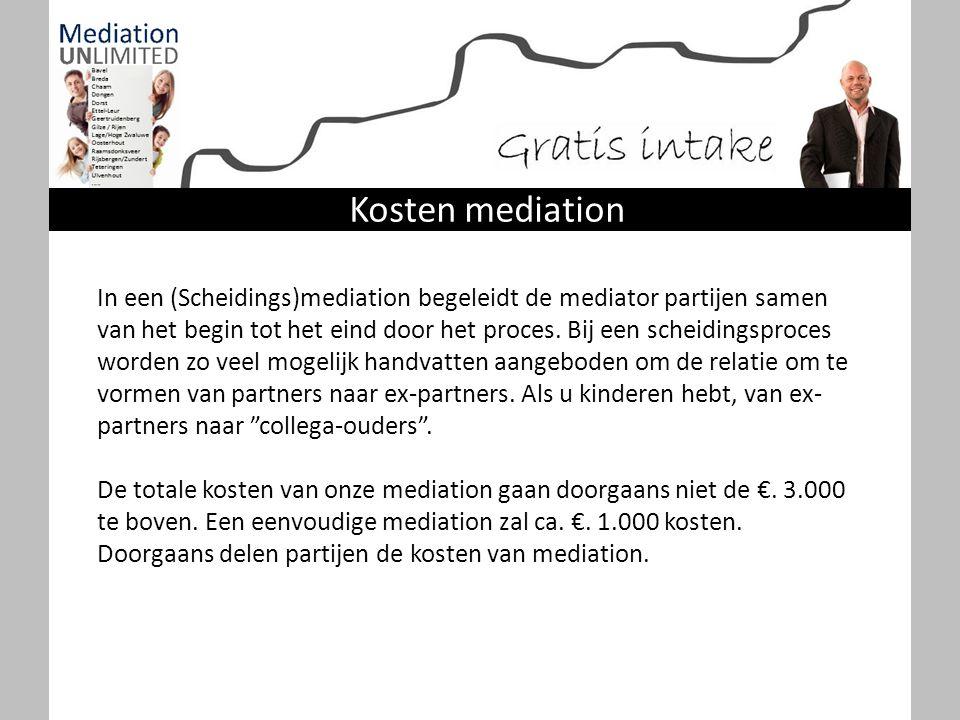 Kosten mediation In een (Scheidings)mediation begeleidt de mediator partijen samen van het begin tot het eind door het proces. Bij een scheidingsproce