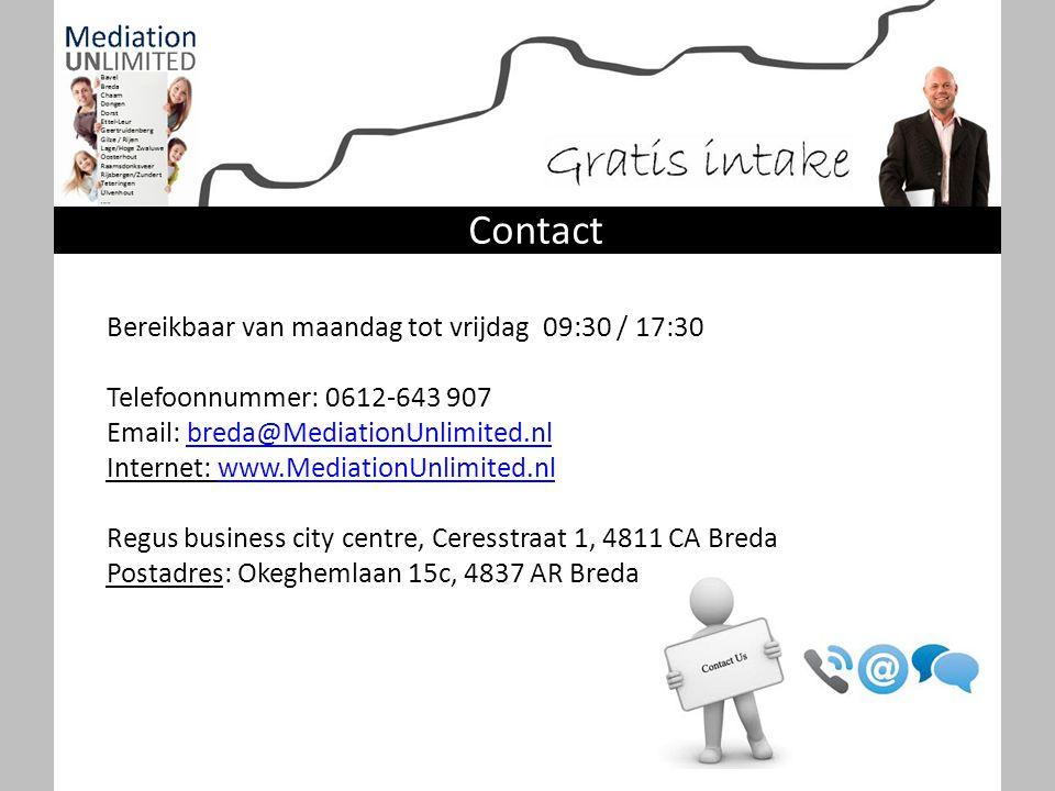 Bereikbaar van maandag tot vrijdag 09:30 / 17:30 Telefoonnummer: 0612-643 907 Email: breda@MediationUnlimited.nlbreda@MediationUnlimited.nl Internet: