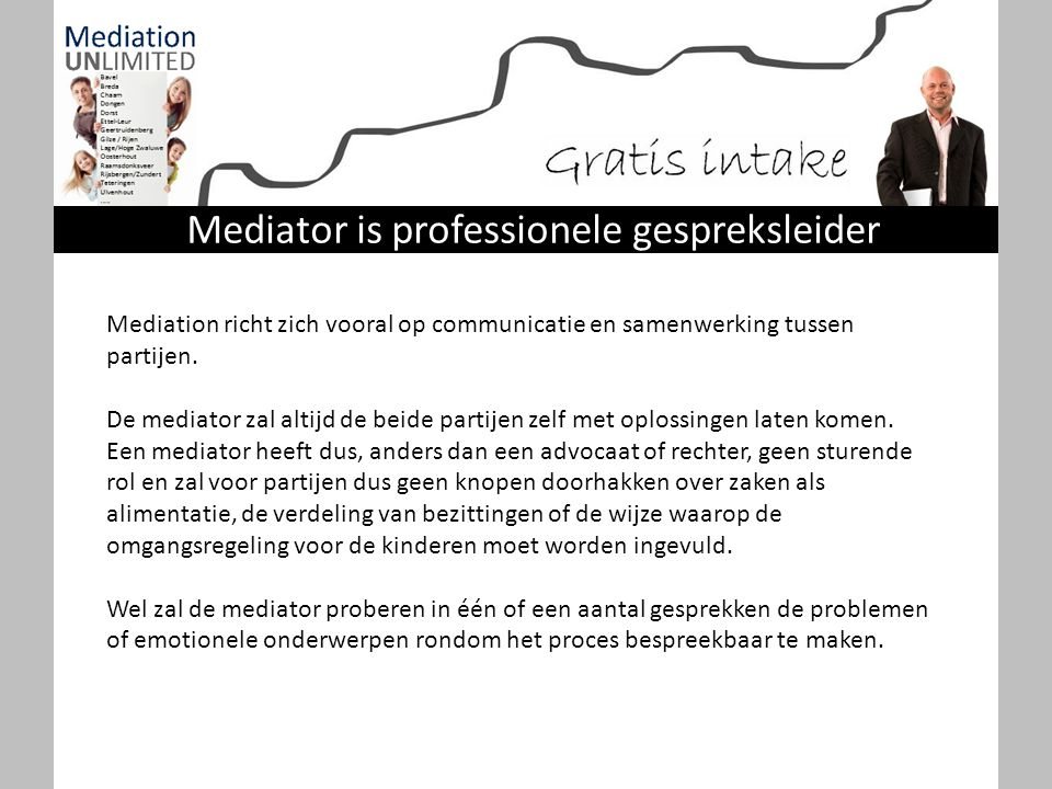 Mediation richt zich vooral op communicatie en samenwerking tussen partijen. De mediator zal altijd de beide partijen zelf met oplossingen laten komen