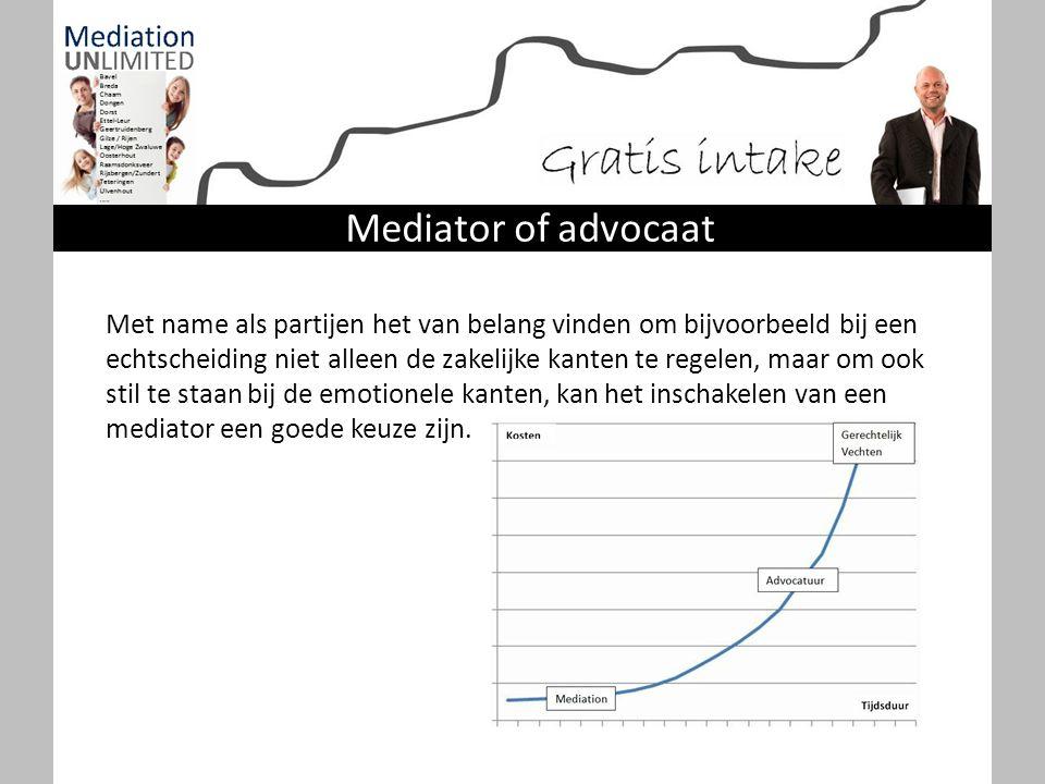 Kosten mediation In een (Scheidings)mediation begeleidt de mediator partijen samen van het begin tot het eind door het proces.