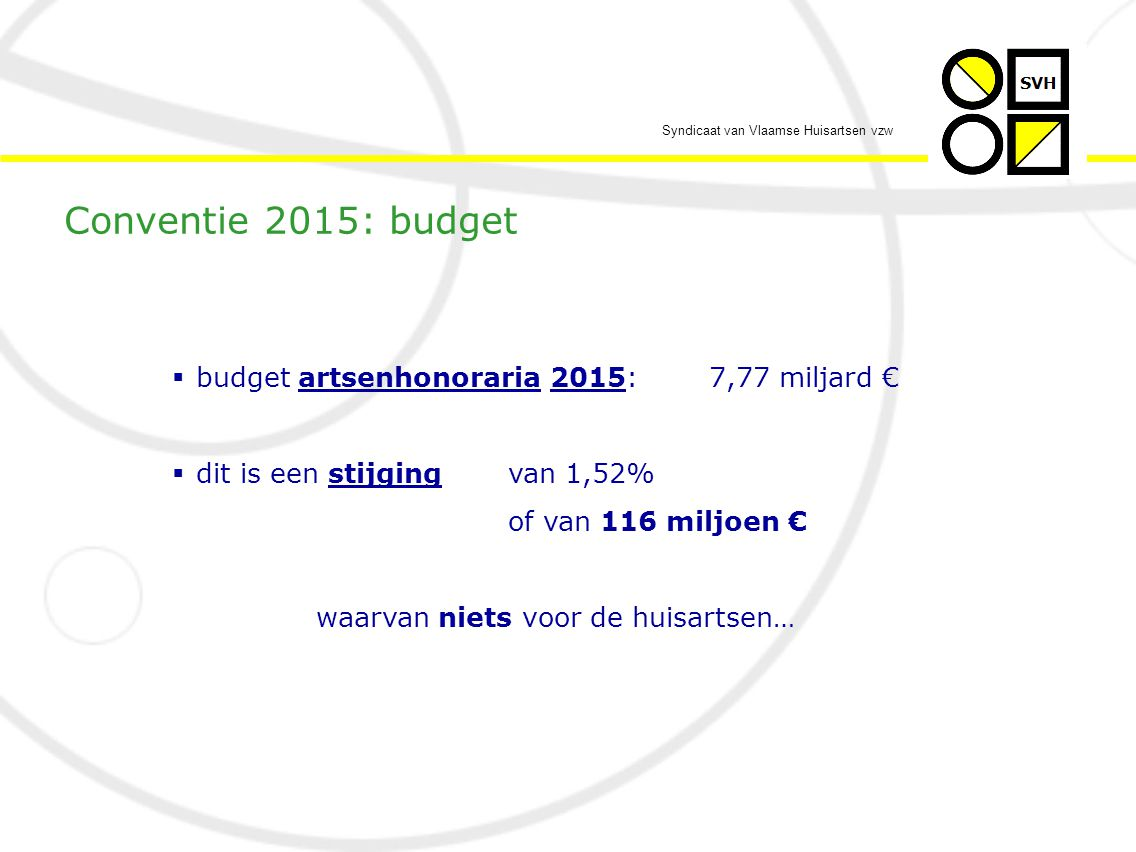 Syndicaat van Vlaamse Huisartsen vzw  …een betere sociale bescherming vd huisarts  Nb: een eerste stap hoeft zelfs niets te kosten door een eerlijke verdeling van het beschikbare budget onder de actieve artsen  Nb: vanaf 2014 zal de toekenning van het sociaal statuut gekoppeld worden aan een zekere activiteitsdrempel (conventie 2013-2014) - andermaal een valse belofte… Conventie 2015: geen geld voor…