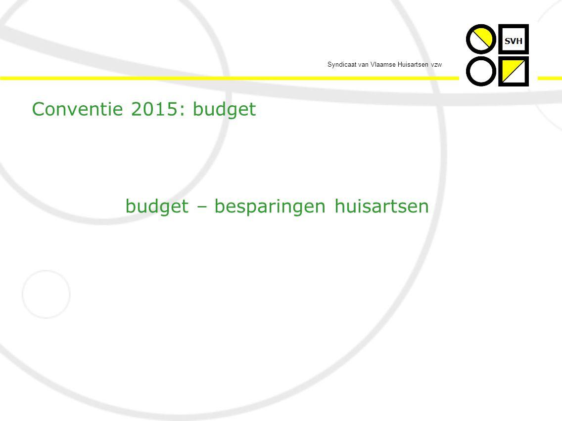 Syndicaat van Vlaamse Huisartsen vzw  vooreerst – conform de algemene context – de indexsprong  elders éénmalig en wordt daarvoor het land op stelten gezet  voor de HA de zoveelste keer… Conventie 2015: budget – besparingen HA'en