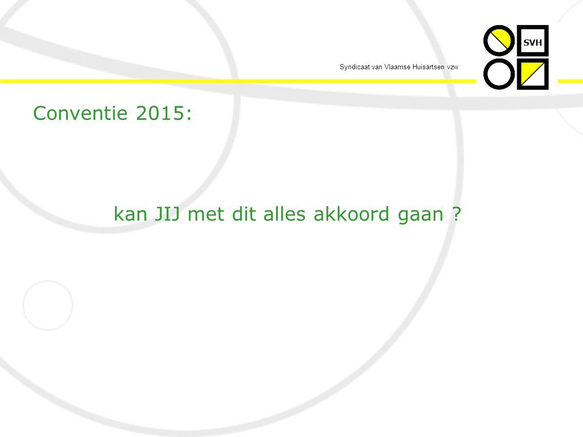 Syndicaat van Vlaamse Huisartsen vzw Conventie 2015: kan JIJ met dit alles akkoord gaan ?