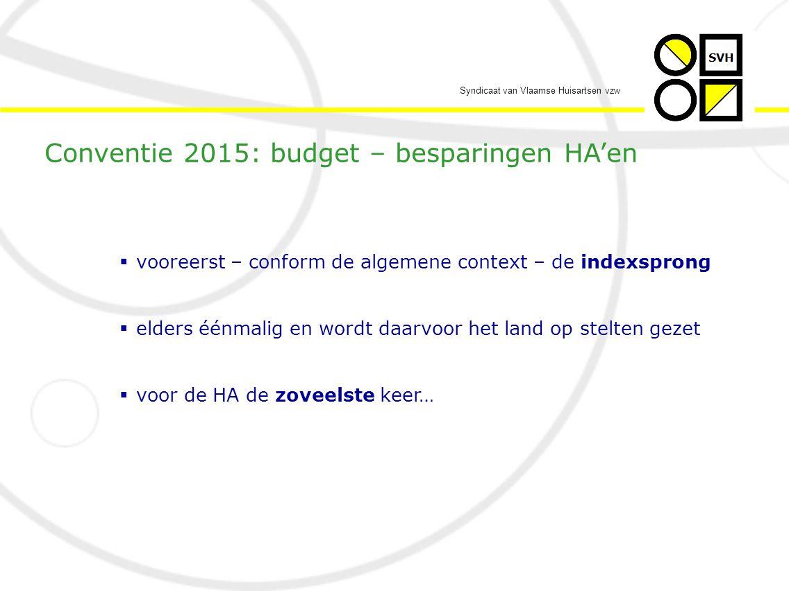 Syndicaat van Vlaamse Huisartsen vzw  15 € bruto pensioen per maand…  vgl met de 2000 € netto pensioen van de leraar middelbaar onderwijs… Conventie 2015: wie deze conventie weigert…