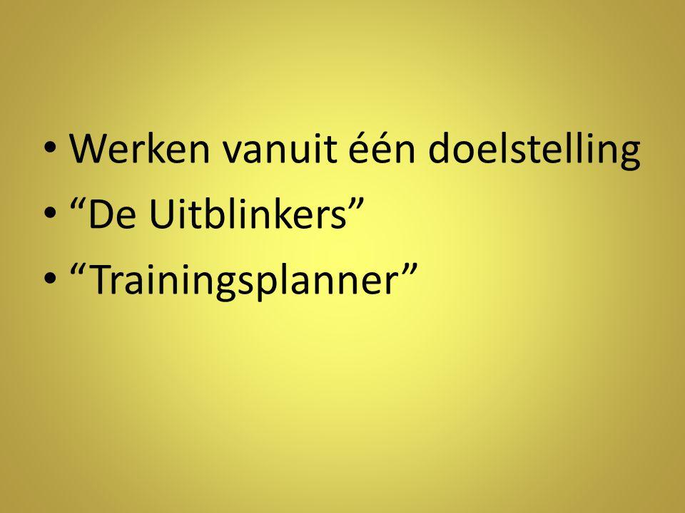 Werken vanuit één doelstelling De Uitblinkers Trainingsplanner