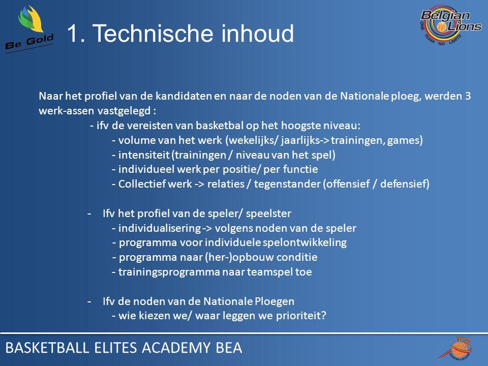 1. Technische inhoud Naar het profiel van de kandidaten en naar de noden van de Nationale ploeg, werden 3 werk-assen vastgelegd : - ifv de vereisten v