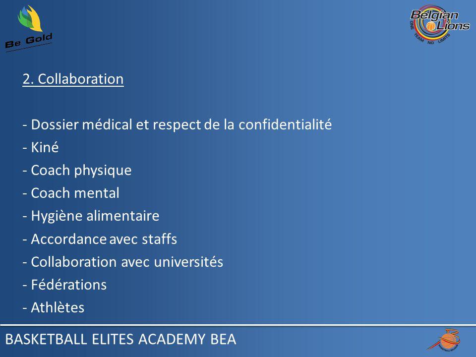 2. Collaboration - Dossier médical et respect de la confidentialité - Kiné - Coach physique - Coach mental - Hygiène alimentaire - Accordance avec sta