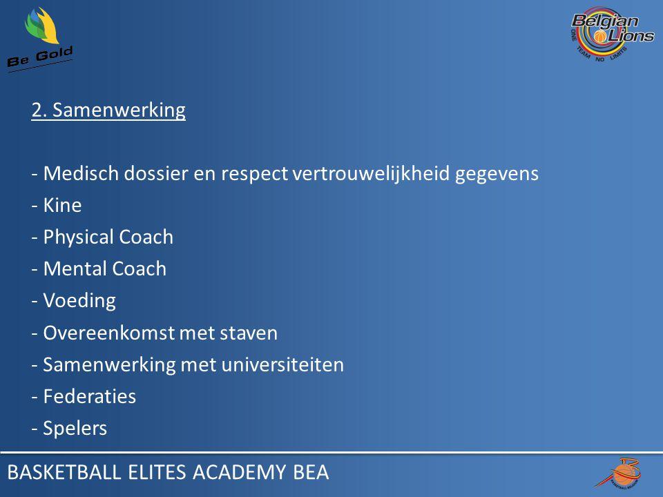 2. Samenwerking - Medisch dossier en respect vertrouwelijkheid gegevens - Kine - Physical Coach - Mental Coach - Voeding - Overeenkomst met staven - S