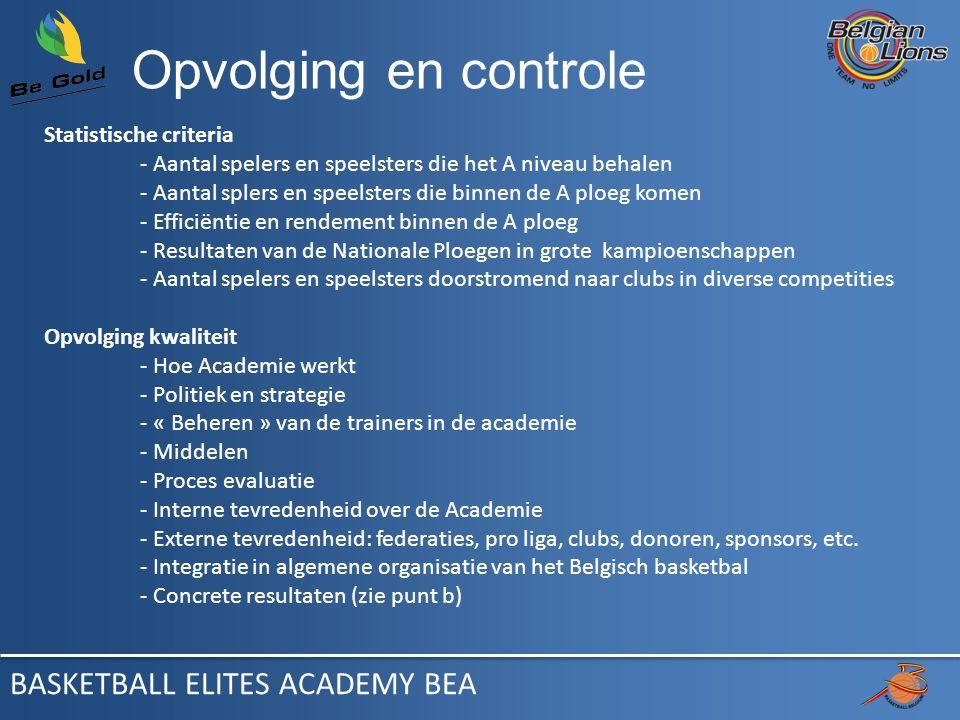 Opvolging en controle Statistische criteria - Aantal spelers en speelsters die het A niveau behalen - Aantal splers en speelsters die binnen de A ploeg komen - Efficiëntie en rendement binnen de A ploeg - Resultaten van de Nationale Ploegen in grote kampioenschappen - Aantal spelers en speelsters doorstromend naar clubs in diverse competities Opvolging kwaliteit - Hoe Academie werkt - Politiek en strategie - « Beheren » van de trainers in de academie - Middelen - Proces evaluatie - Interne tevredenheid over de Academie - Externe tevredenheid: federaties, pro liga, clubs, donoren, sponsors, etc.