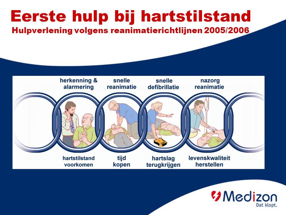 Effectieve hartmassage (2/2) Indrukken 4 tot 5 cm (1/3 van borstkashoogte) Niet blijven leunen.
