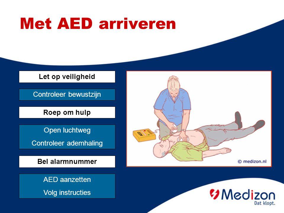 Met AED arriveren Let op veiligheid Controleer bewustzijn Roep om hulp Open luchtweg Controleer ademhaling Bel alarmnummer AED aanzetten Volg instruct