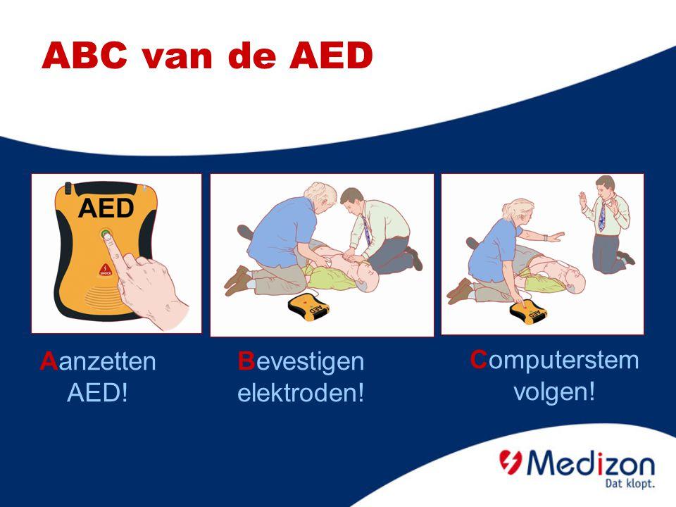 Aanzetten AED! ABC van de AED Bevestigen elektroden! Computerstem volgen!