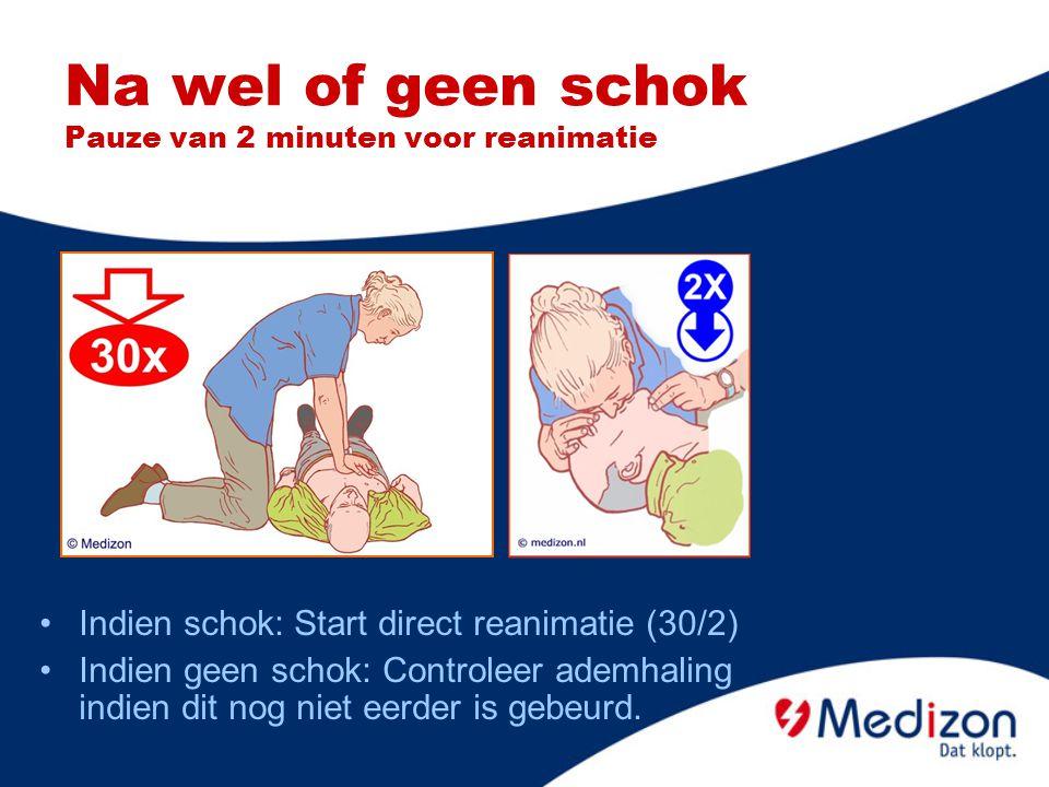 Na wel of geen schok Pauze van 2 minuten voor reanimatie Indien schok: Start direct reanimatie (30/2) Indien geen schok: Controleer ademhaling indien