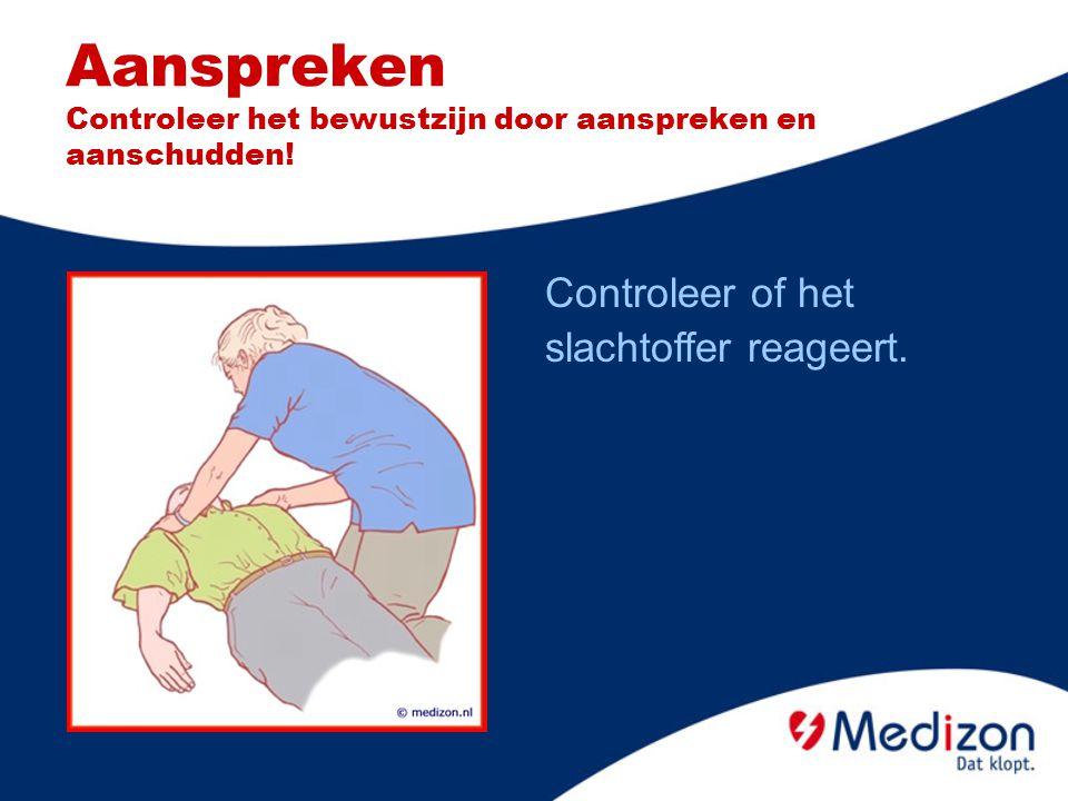 Met AED arriveren Let op veiligheid Controleer bewustzijn Roep om hulp Open luchtweg Controleer ademhaling Bel alarmnummer AED aanzetten Volg instructies