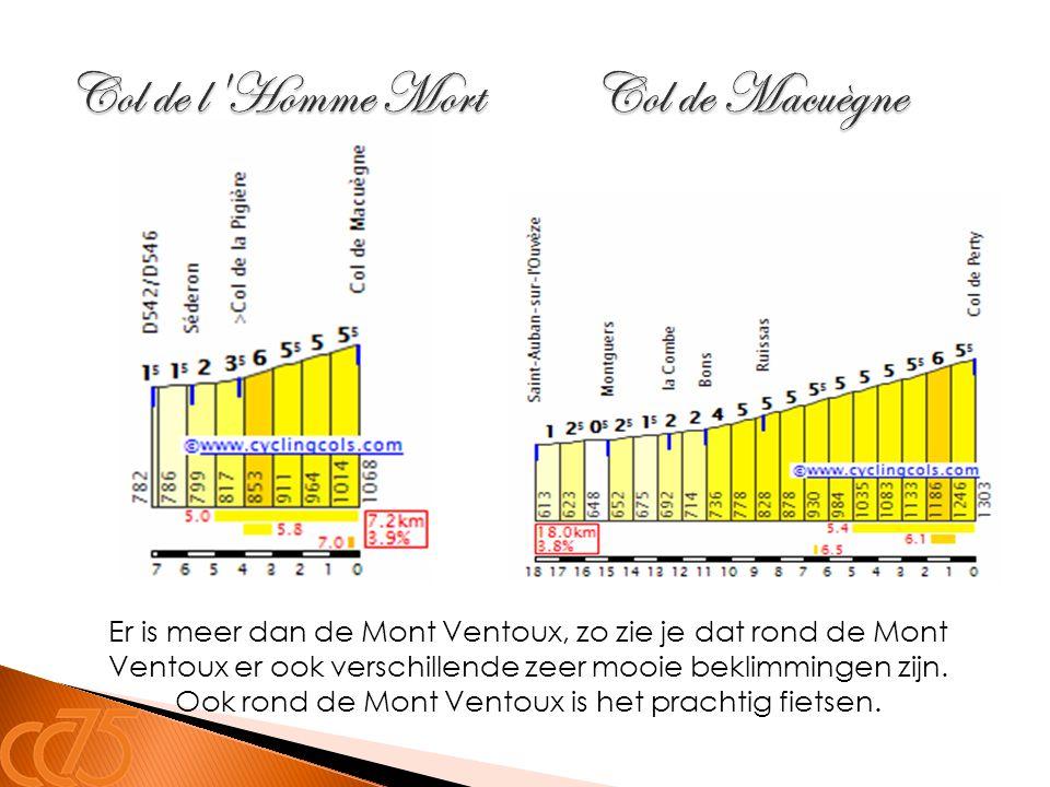 Er is meer dan de Mont Ventoux, zo zie je dat rond de Mont Ventoux er ook verschillende zeer mooie beklimmingen zijn. Ook rond de Mont Ventoux is het