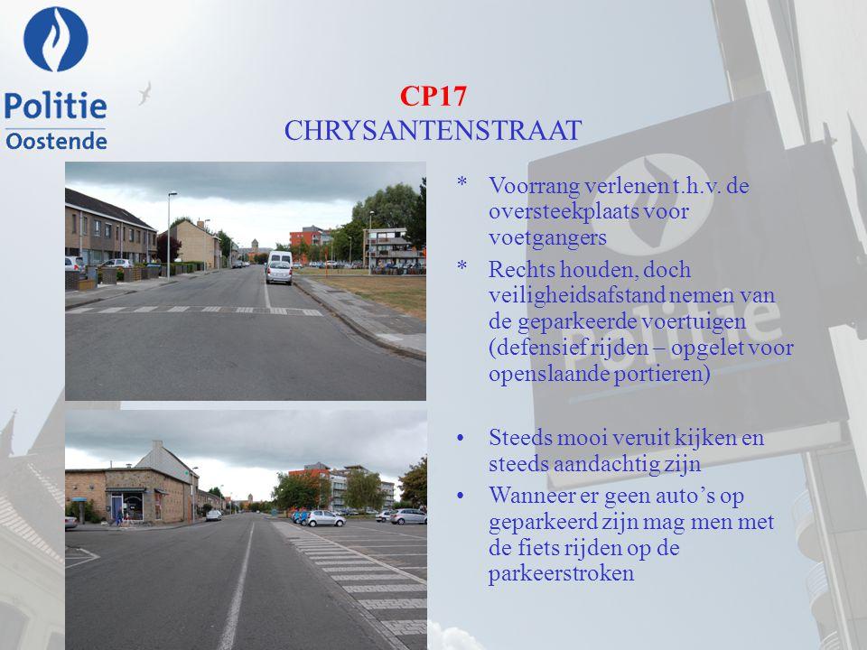 CP17 CHRYSANTENSTRAAT *Voorrang verlenen t.h.v. de oversteekplaats voor voetgangers *Rechts houden, doch veiligheidsafstand nemen van de geparkeerde v
