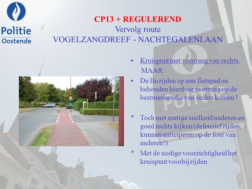 CP13 + REGULEREND Vervolg route VOGELZANGDREEF - NACHTEGALENLAAN Kruispunt met voorrang van rechts, MAAR : De lln rijden op een fietspad en behouden h