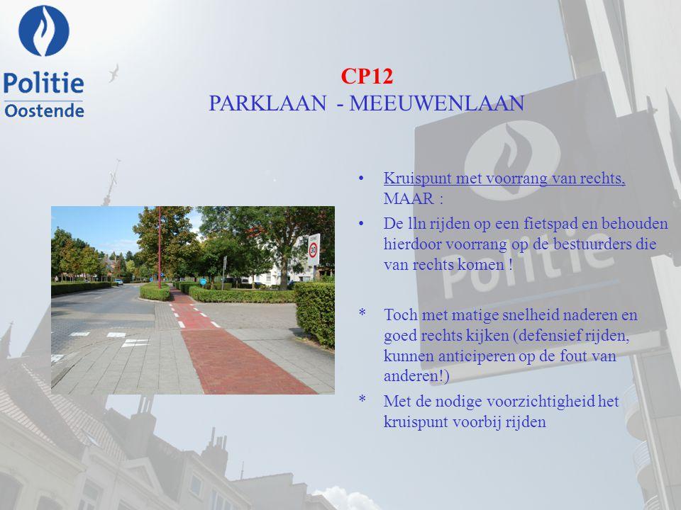 CP12 PARKLAAN - MEEUWENLAAN Kruispunt met voorrang van rechts, MAAR : De lln rijden op een fietspad en behouden hierdoor voorrang op de bestuurders di