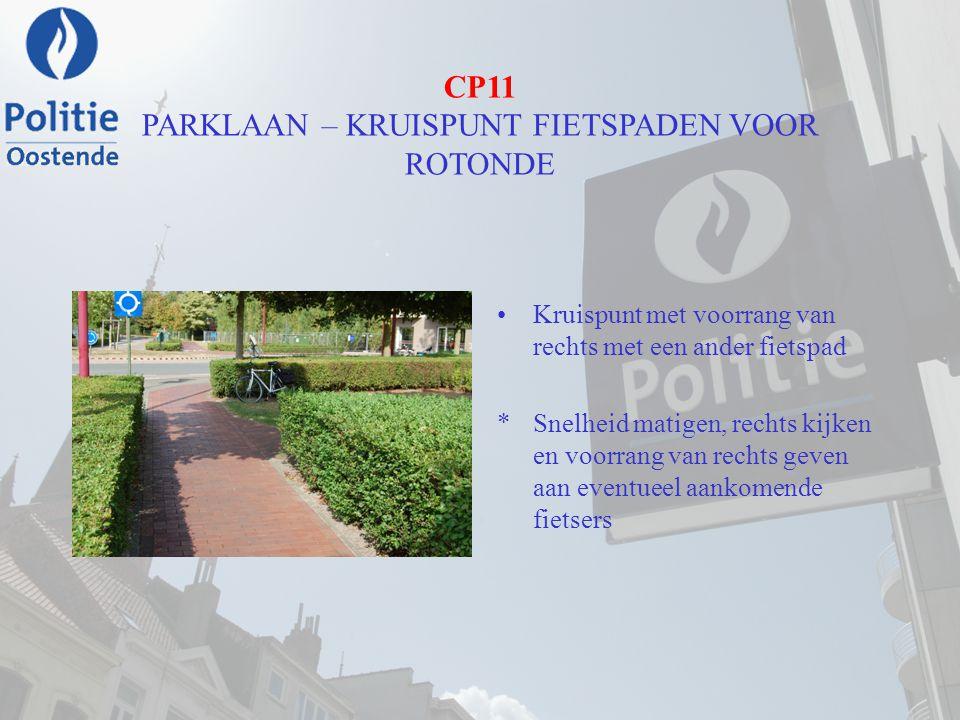 CP11 PARKLAAN – KRUISPUNT FIETSPADEN VOOR ROTONDE Kruispunt met voorrang van rechts met een ander fietspad *Snelheid matigen, rechts kijken en voorran