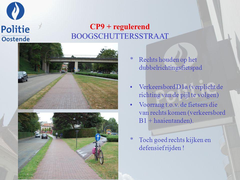 CP9 + regulerend BOOGSCHUTTERSSTRAAT *Rechts houden op het dubbelrichtingsfietspad Verkeersbord D1a (verplicht de richting van de pijl te volgen) Voor