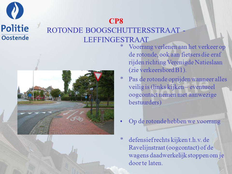 CP8 ROTONDE BOOGSCHUTTERSSTRAAT - LEFFINGESTRAAT *Voorrang verlenen aan het verkeer op de rotonde, ook aan fietsers die eraf rijden richting Verenigde