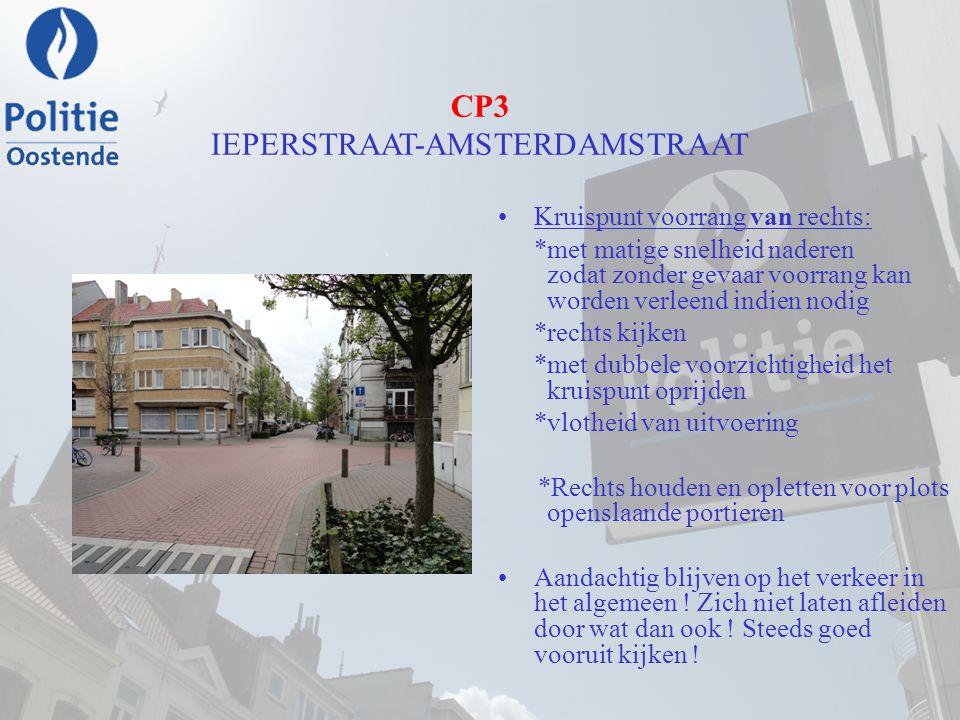 CP3 IEPERSTRAAT-AMSTERDAMSTRAAT Kruispunt voorrang van rechts: *met matige snelheid naderen zodat zonder gevaar voorrang kan worden verleend indien no