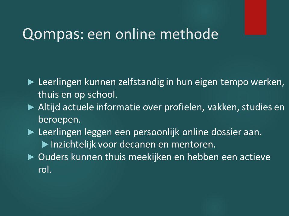 Qompas : een online methode ► Leerlingen kunnen zelfstandig in hun eigen tempo werken, thuis en op school. ► Altijd actuele informatie over profielen,