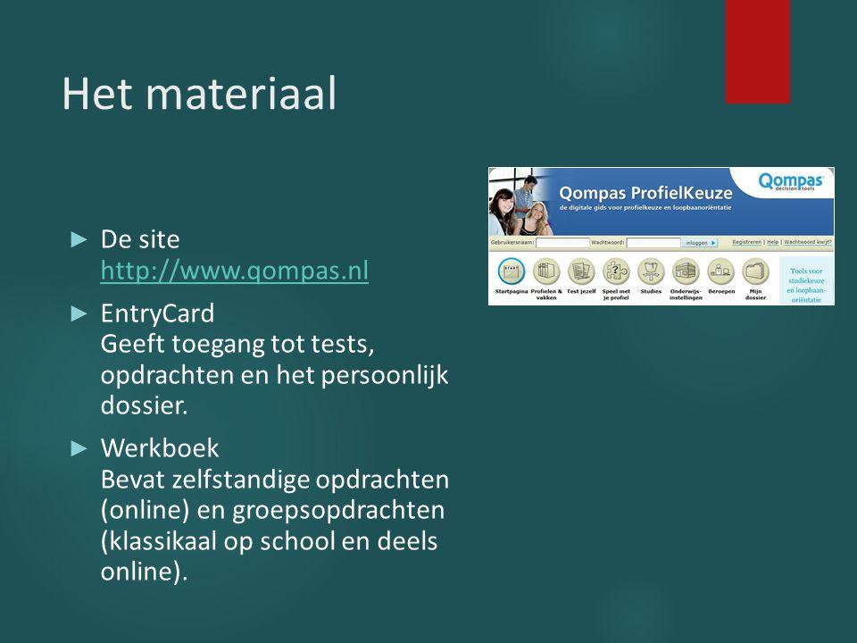 Het materiaal ► De site http://www.qompas.nl http://www.qompas.nl ► EntryCard Geeft toegang tot tests, opdrachten en het persoonlijk dossier. ► Werkbo