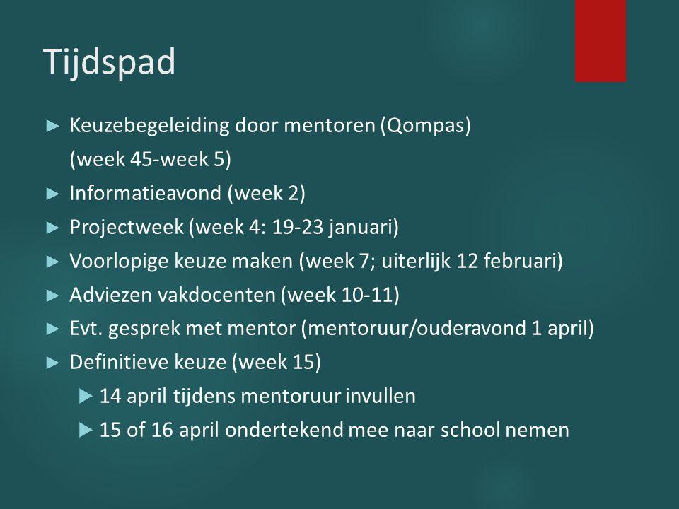 Tijdspad ► Keuzebegeleiding door mentoren (Qompas) (week 45-week 5) ► Informatieavond (week 2) ► Projectweek (week 4: 19-23 januari) ► Voorlopige keuz