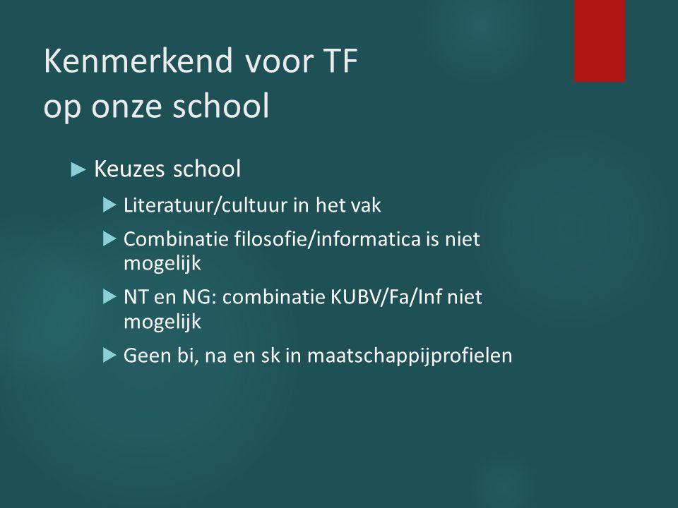 Kenmerkend voor TF op onze school ► Keuzes school  Literatuur/cultuur in het vak  Combinatie filosofie/informatica is niet mogelijk  NT en NG: comb