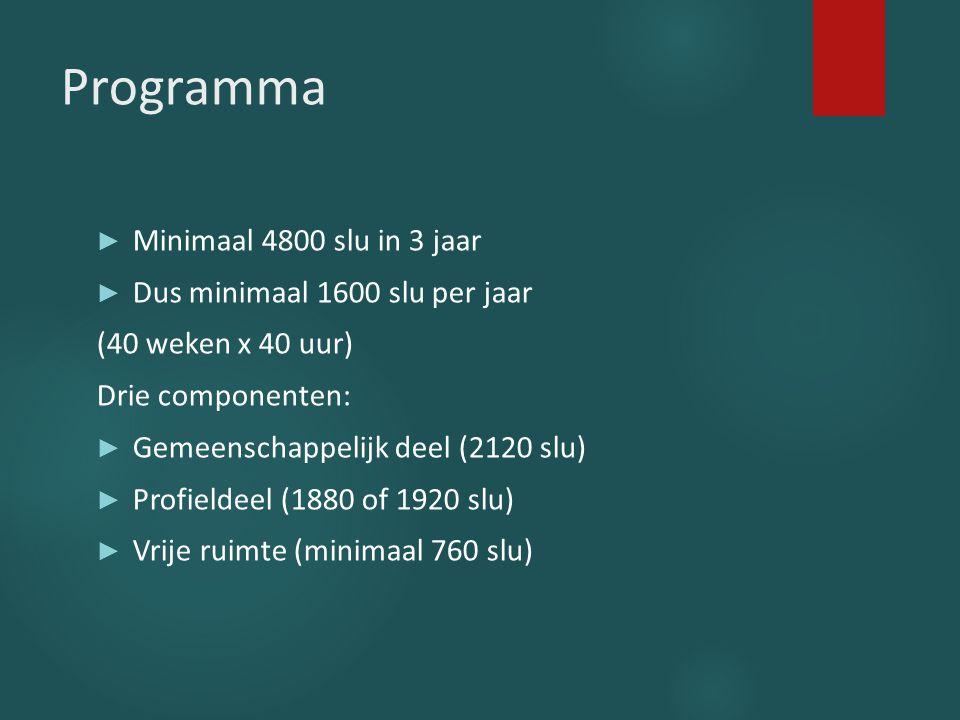 Programma ► Minimaal 4800 slu in 3 jaar ► Dus minimaal 1600 slu per jaar (40 weken x 40 uur) Drie componenten: ► Gemeenschappelijk deel (2120 slu) ► P