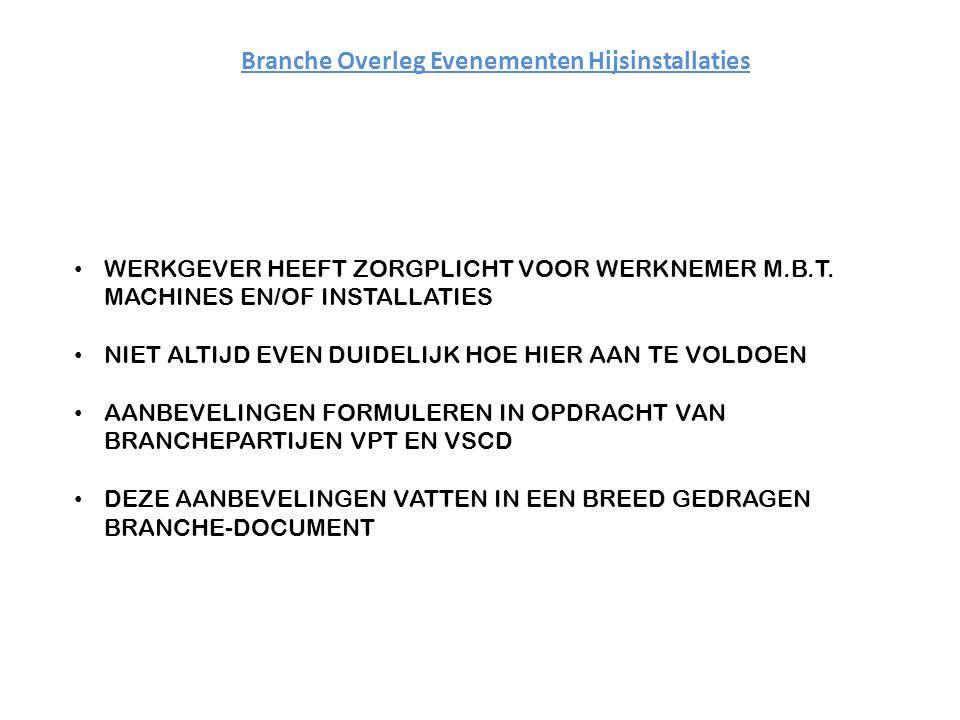 Branche Overleg Evenementen Hijsinstallaties WERKGEVER HEEFT ZORGPLICHT VOOR WERKNEMER M.B.T.