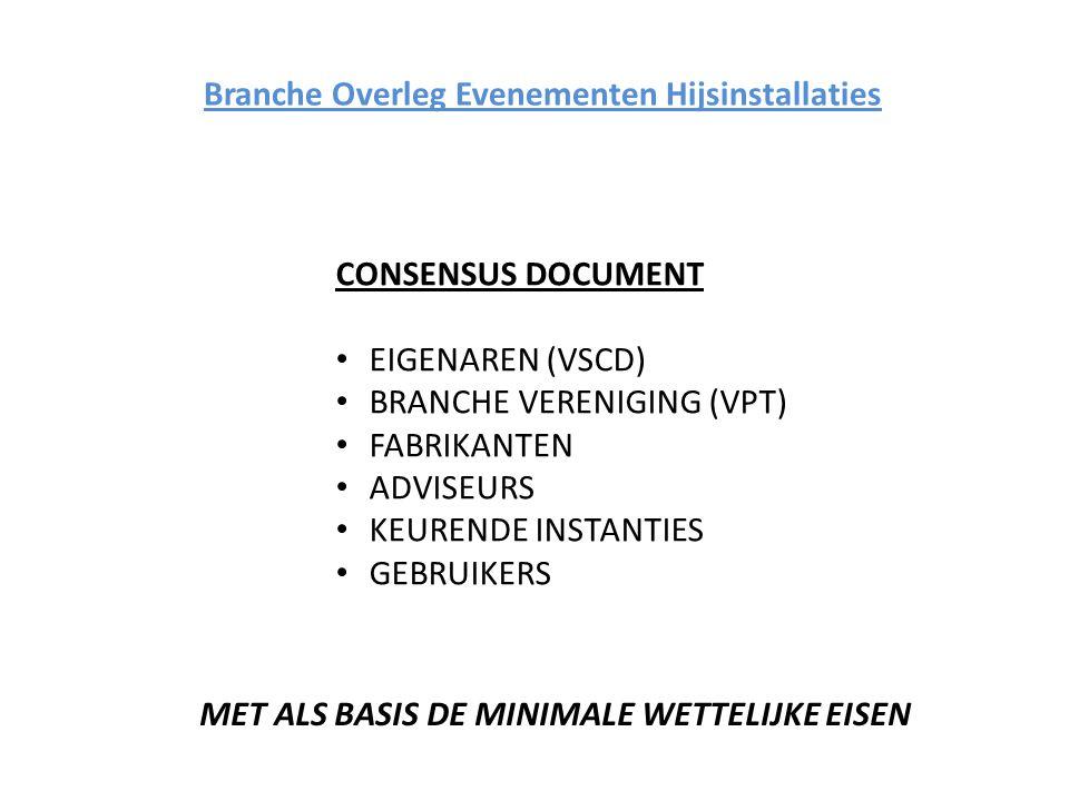 Branche Overleg Evenementen Hijsinstallaties CONSENSUS DOCUMENT EIGENAREN (VSCD) BRANCHE VERENIGING (VPT) FABRIKANTEN ADVISEURS KEURENDE INSTANTIES GEBRUIKERS MET ALS BASIS DE MINIMALE WETTELIJKE EISEN