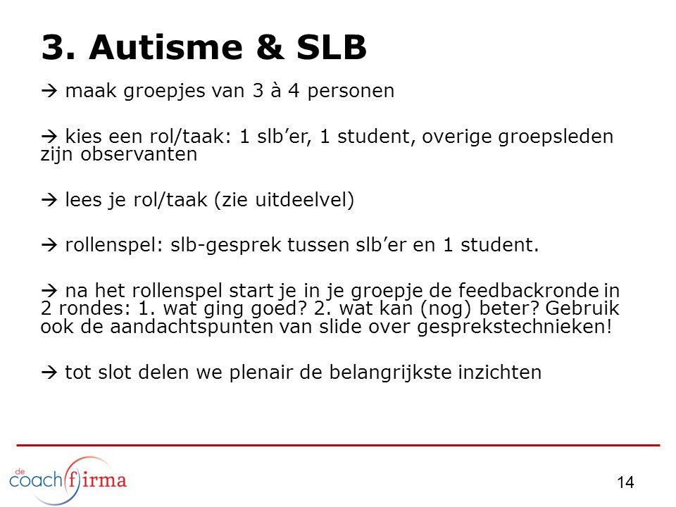 14 3. Autisme & SLB  maak groepjes van 3 à 4 personen  kies een rol/taak: 1 slb'er, 1 student, overige groepsleden zijn observanten  lees je rol/ta