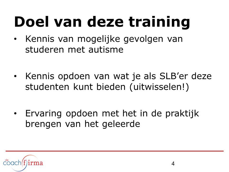 Doel van deze training Kennis van mogelijke gevolgen van studeren met autisme Kennis opdoen van wat je als SLB'er deze studenten kunt bieden (uitwisse