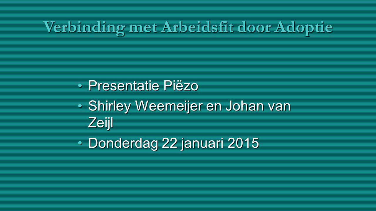 Verbinding met Arbeidsfit door Adoptie Presentatie PiëzoPresentatie Piëzo Shirley Weemeijer en Johan van ZeijlShirley Weemeijer en Johan van Zeijl Don