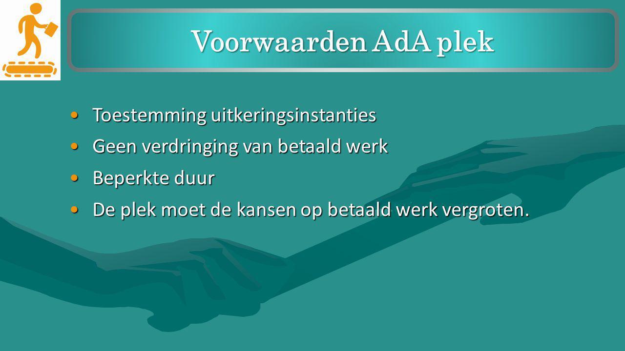 Toestemming uitkeringsinstantiesToestemming uitkeringsinstanties Geen verdringing van betaald werkGeen verdringing van betaald werk Beperkte duurBeper