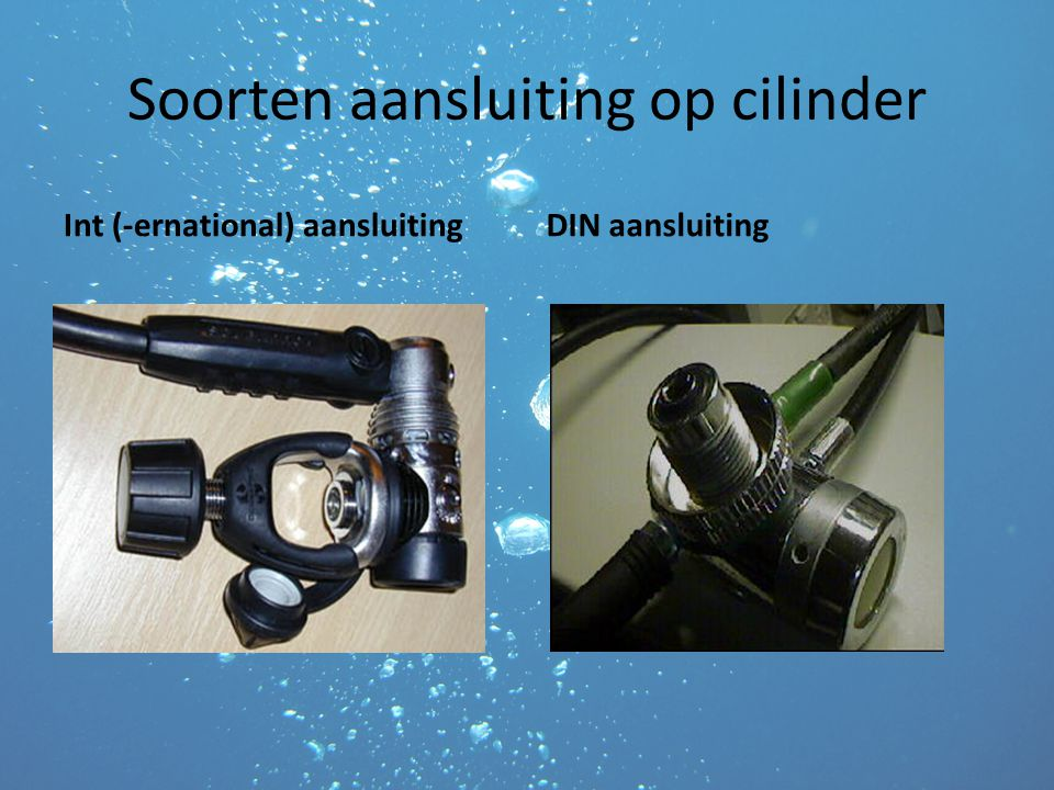Soorten aansluiting op cilinder Int (-ernational) aansluitingDIN aansluiting