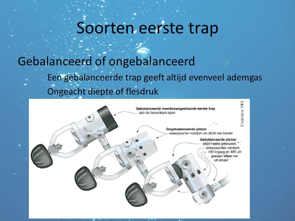 Soorten eerste trap Gebalanceerd of ongebalanceerd Een gebalanceerde trap geeft altijd evenveel ademgas Ongeacht diepte of flesdruk