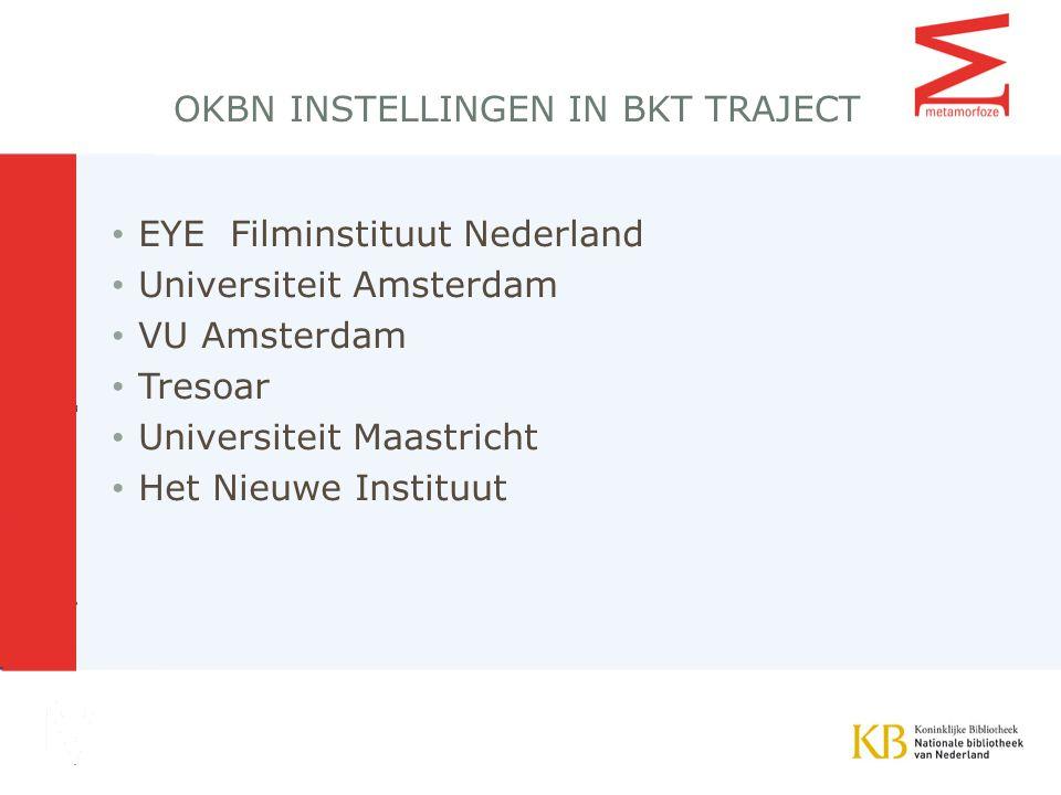 OKBN INSTELLINGEN IN BKT TRAJECT EYE Filminstituut Nederland Universiteit Amsterdam VU Amsterdam Tresoar Universiteit Maastricht Het Nieuwe Instituut