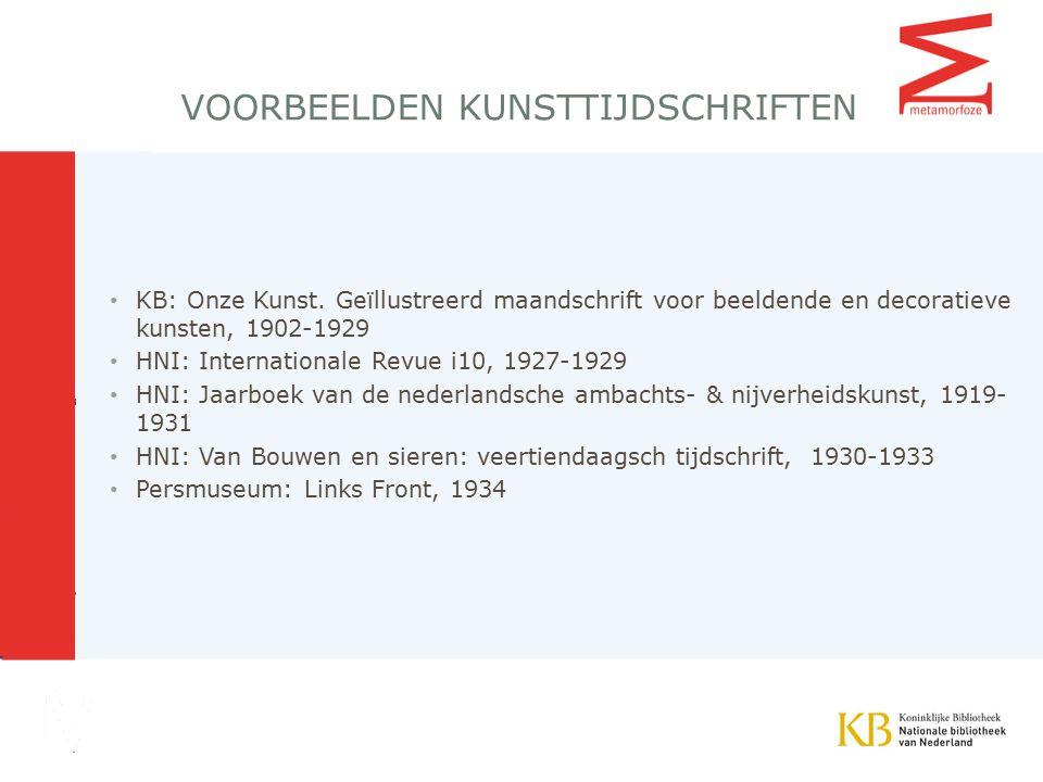 VOORBEELDEN KUNSTTIJDSCHRIFTEN KB: Onze Kunst.